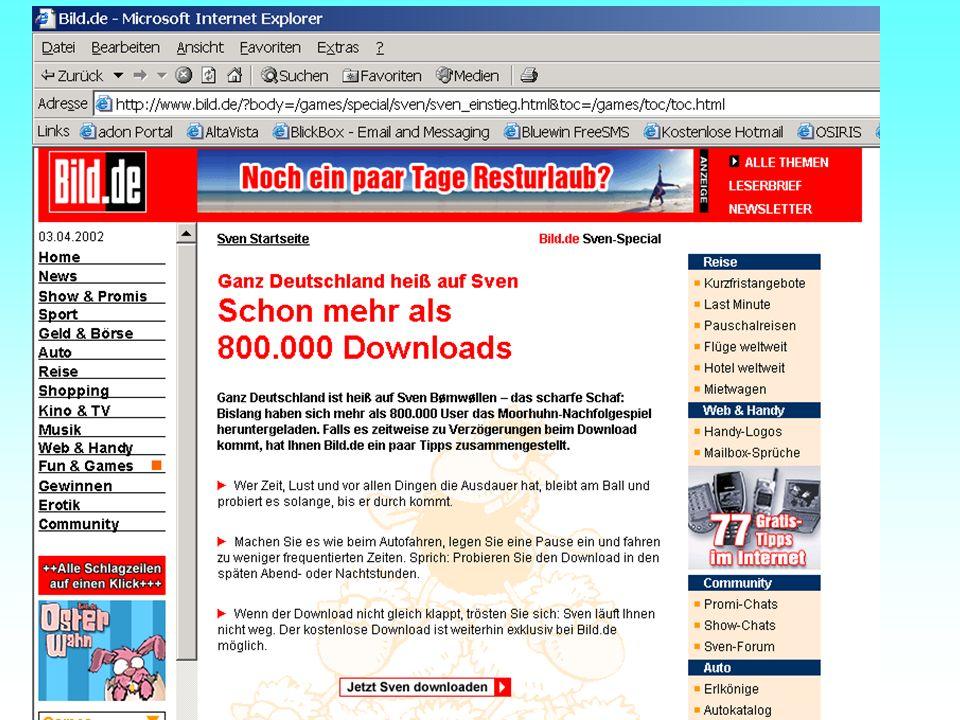Alle waren heiss auf Sven Die Schallmauer wurde schon nach einer Woche durchbrochen - mehr als 800.000 Downloads vom Internet fanden statt.