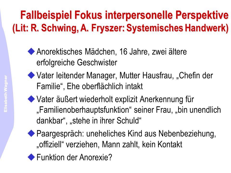 Fallbeispiel Fokus interpersonelle Perspektive (Lit: R. Schwing, A