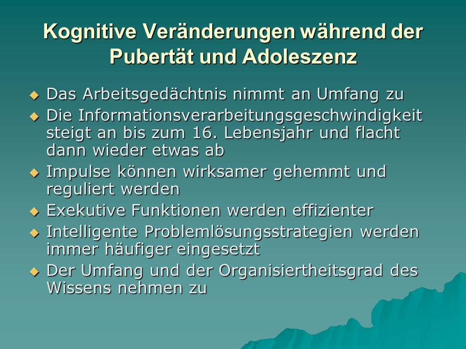 Kognitive Veränderungen während der Pubertät und Adoleszenz
