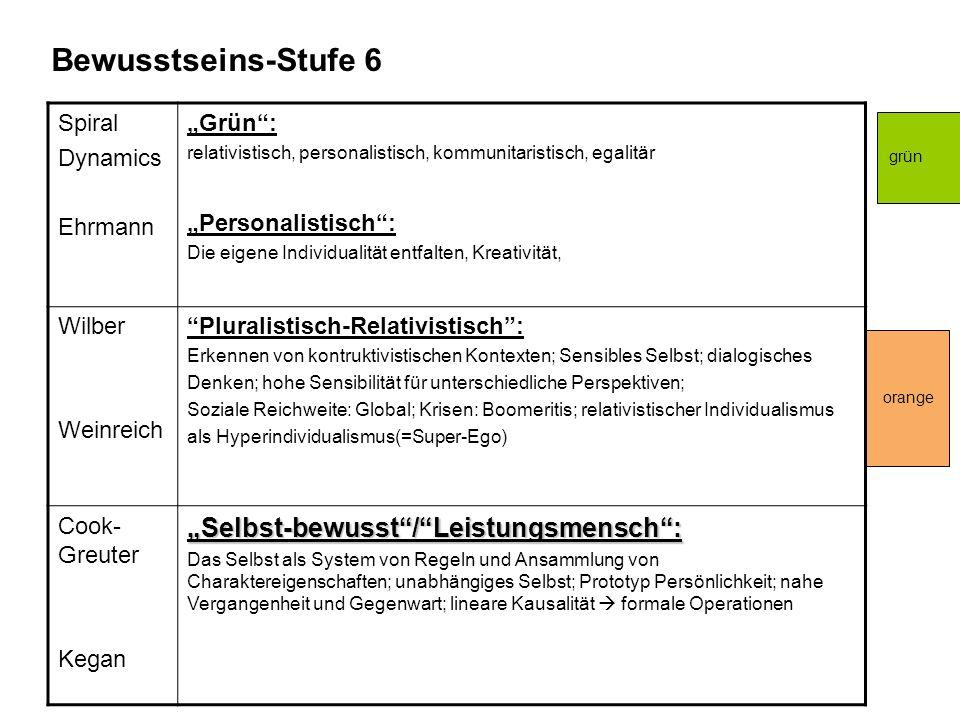 """Bewusstseins-Stufe 6 """"Selbst-bewusst / Leistungsmensch : Spiral"""