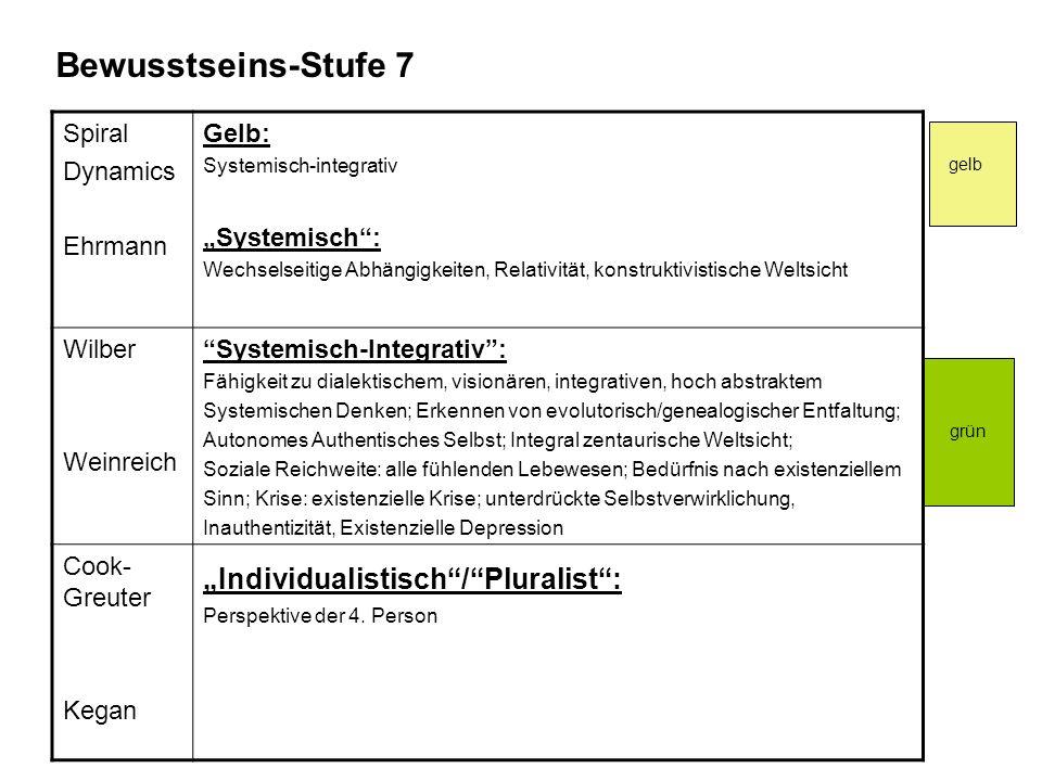 """Bewusstseins-Stufe 7 """"Individualistisch / Pluralist : Spiral Dynamics"""