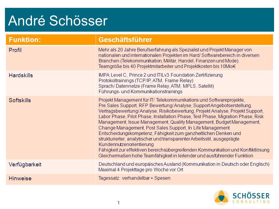 André Schösser Funktion: Geschäftsführer Profil Hardskills Softskills