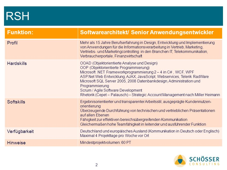 RSH Funktion: Softwarearchitekt/ Senior Anwendungsentwickler Profil