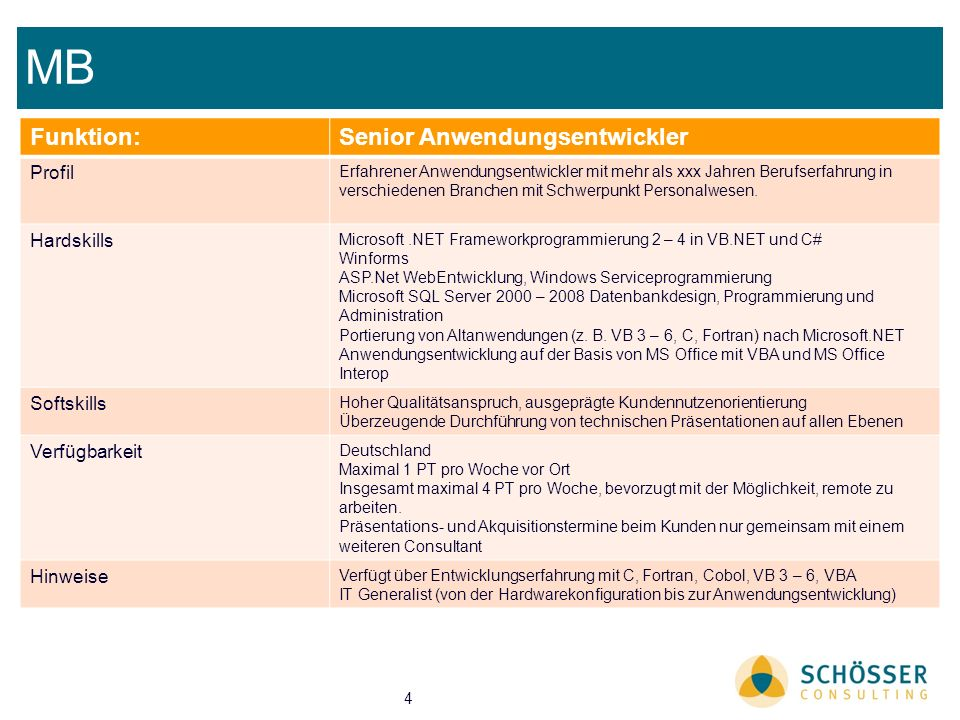 MB Funktion: Senior Anwendungsentwickler Profil Hardskills Softskills