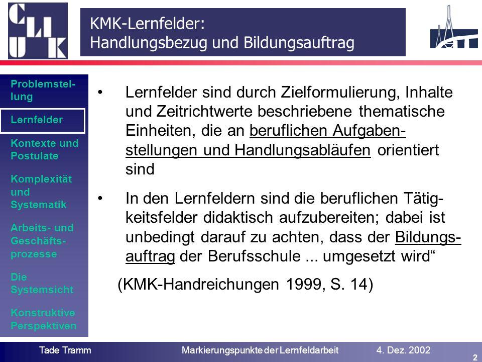 Lernfelder: System – Prozess -Systematik