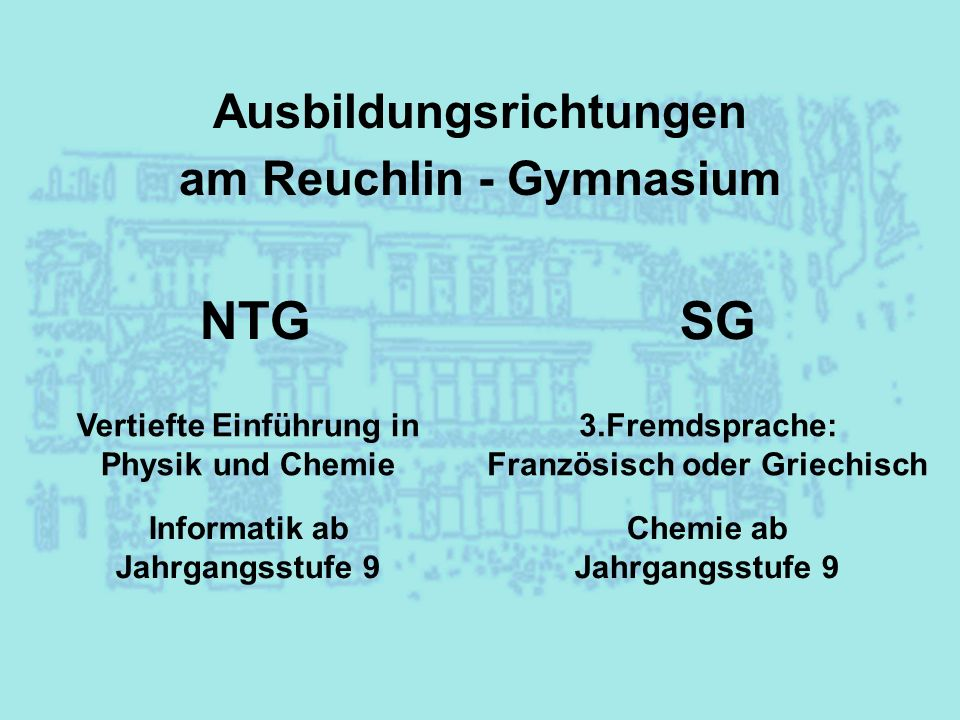 Ausbildungsrichtungen am Reuchlin - Gymnasium