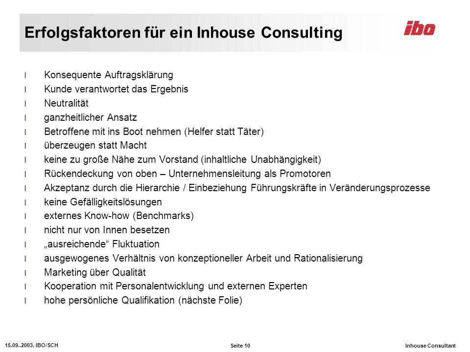 Erfolgsfaktoren für ein Inhouse Consulting