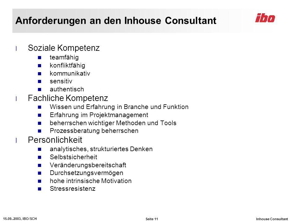 Anforderungen an den Inhouse Consultant