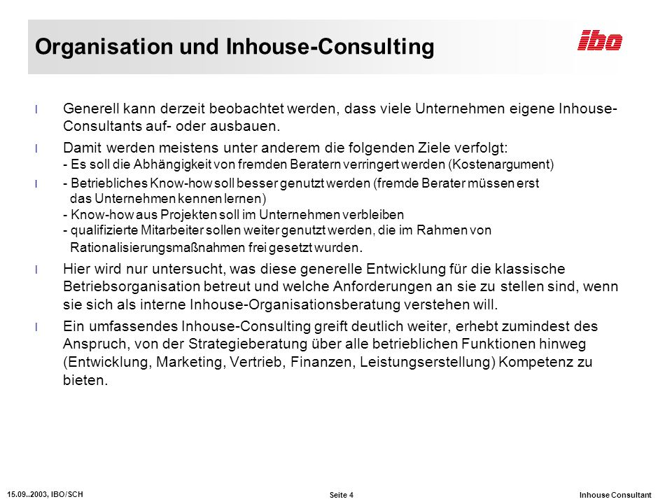 Organisation und Inhouse-Consulting