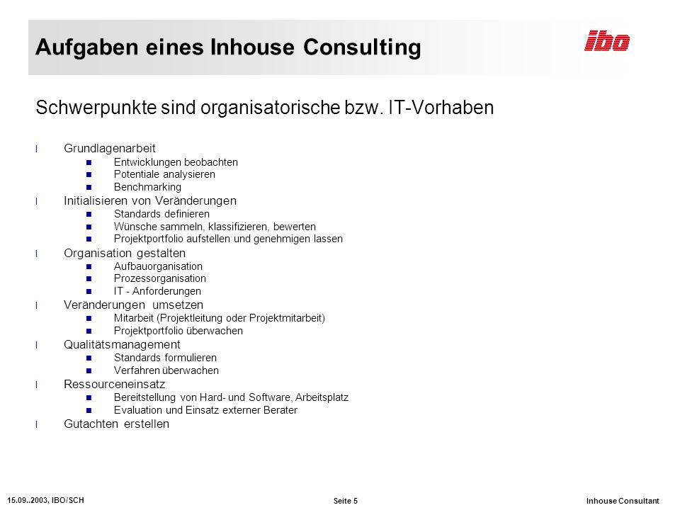 Aufgaben eines Inhouse Consulting
