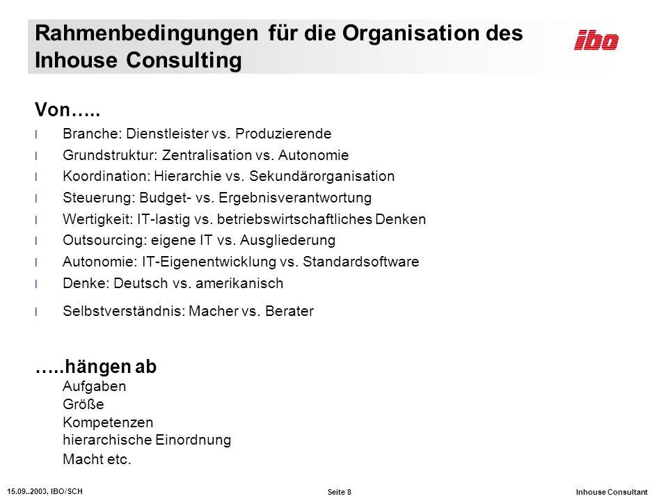 Rahmenbedingungen für die Organisation des Inhouse Consulting
