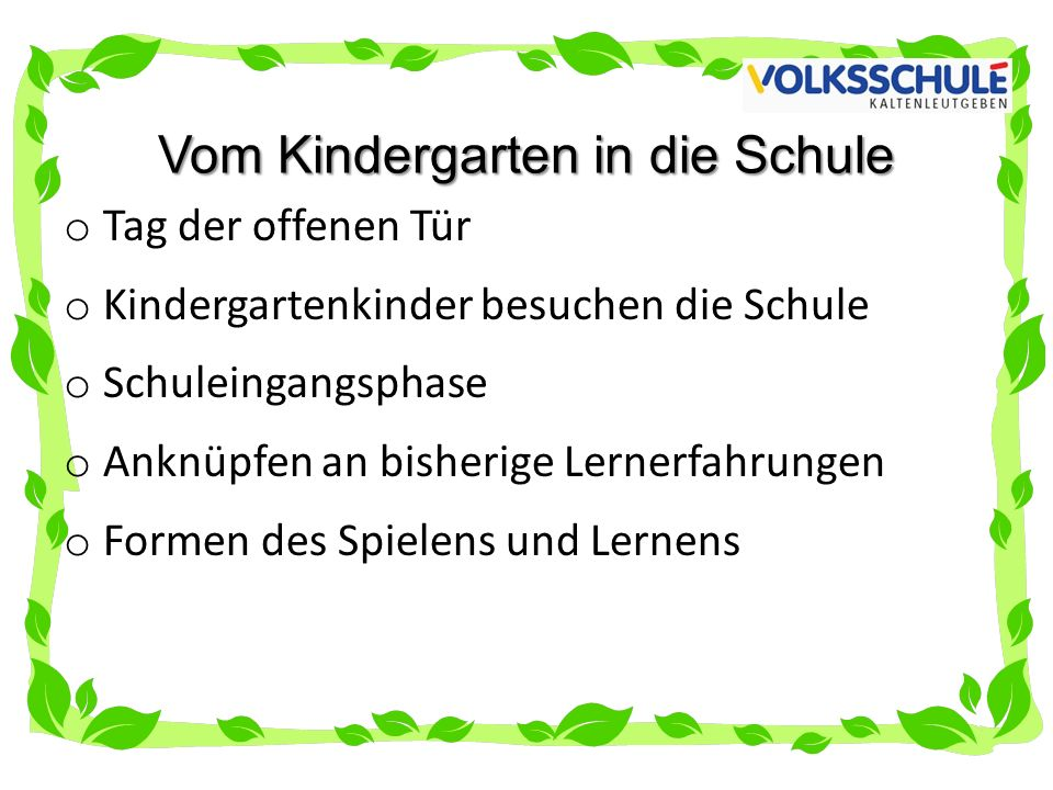 Vom Kindergarten in die Schule