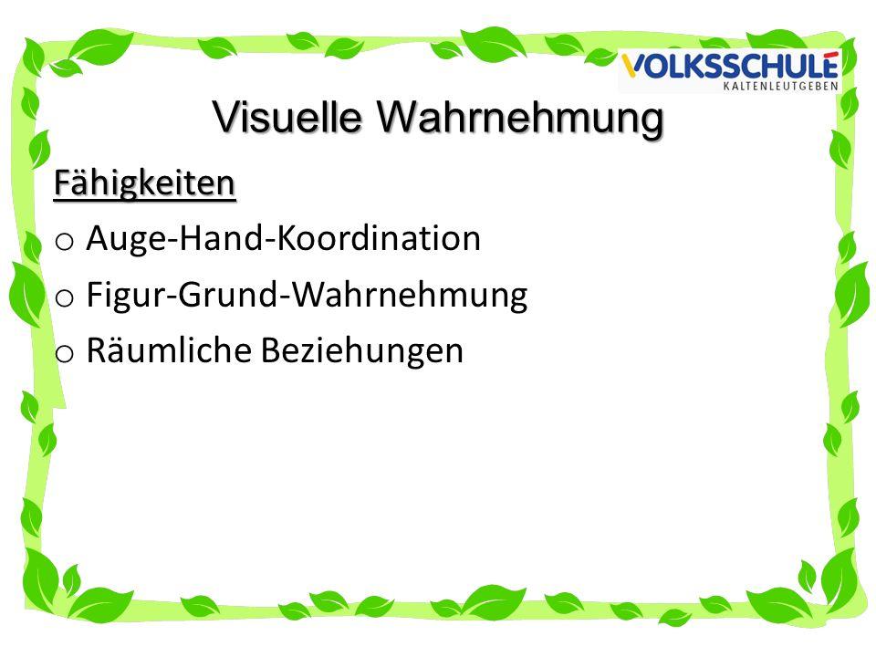 Visuelle Wahrnehmung Fähigkeiten Auge-Hand-Koordination