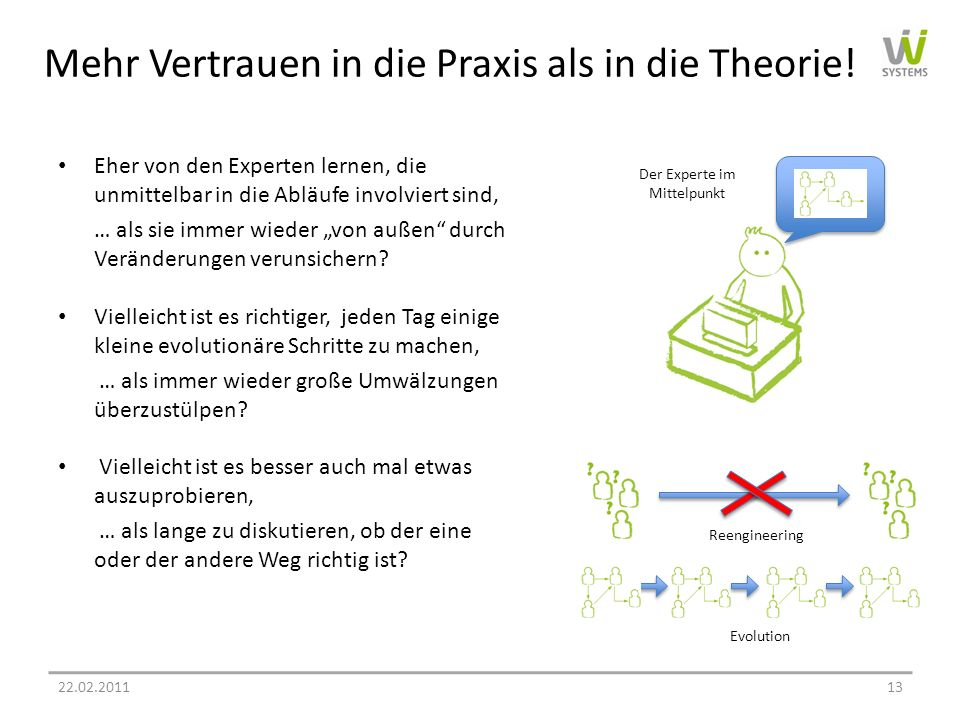 Mehr Vertrauen in die Praxis als in die Theorie!