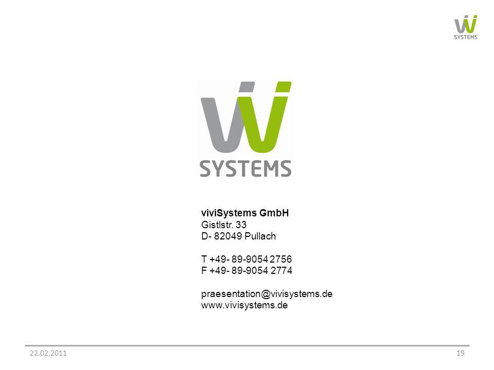 viviSystems GmbH Gistlstr. 33 D- 82049 Pullach T +49- 89-9054 2756