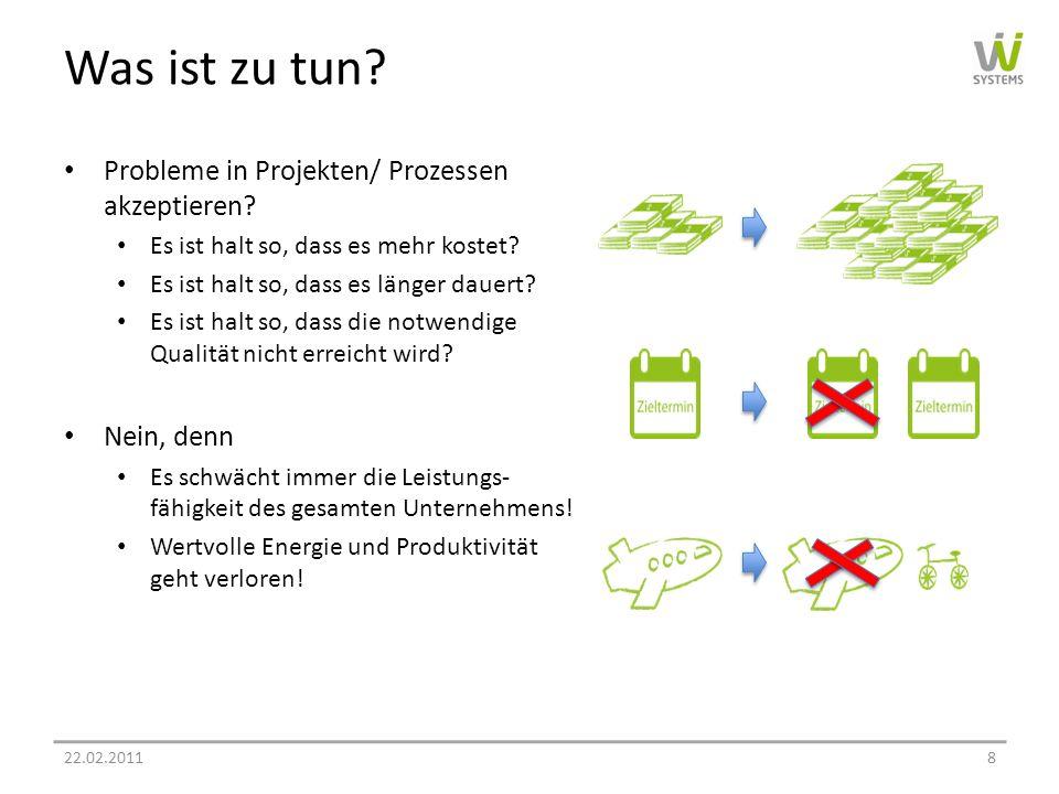Was ist zu tun Probleme in Projekten/ Prozessen akzeptieren