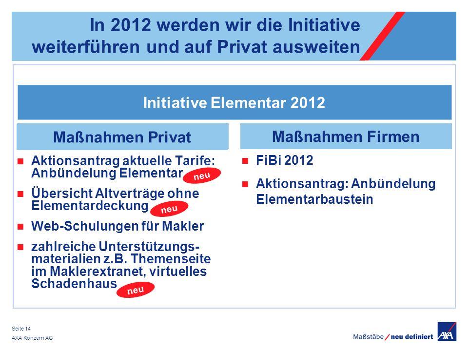 In 2012 werden wir die Initiative weiterführen und auf Privat ausweiten
