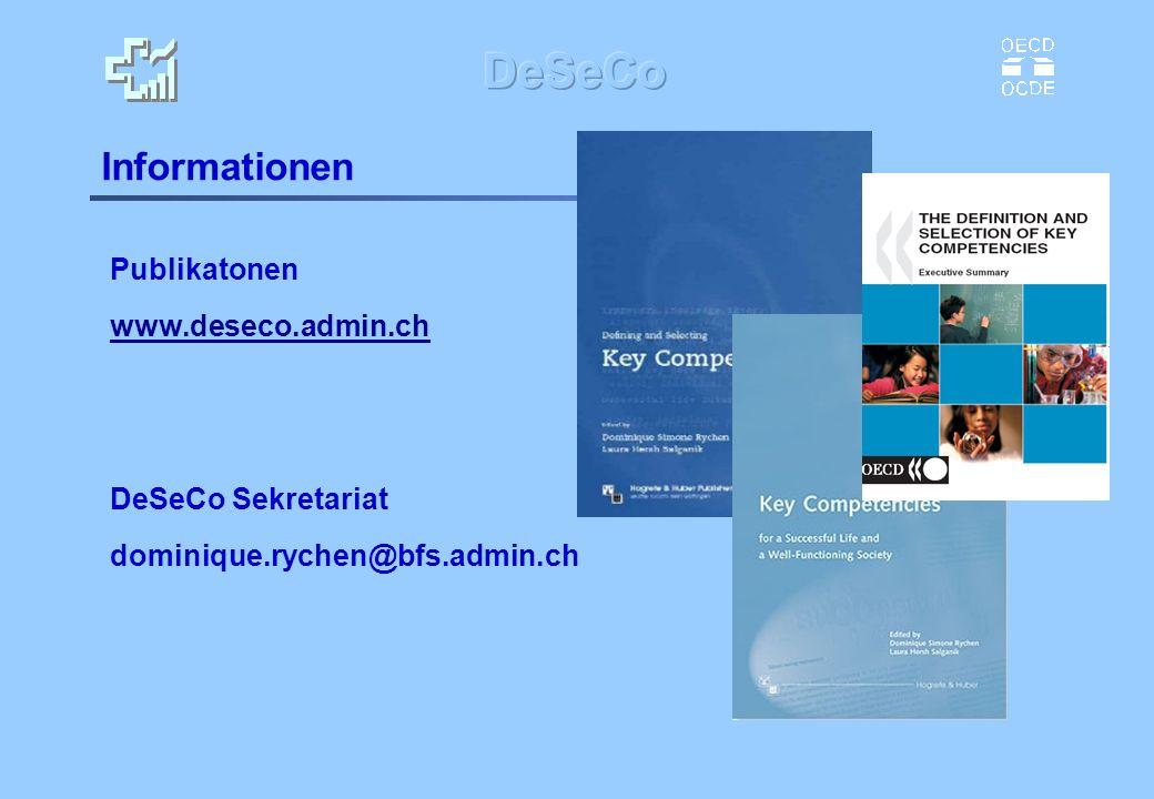 Informationen Publikatonen www.deseco.admin.ch DeSeCo Sekretariat