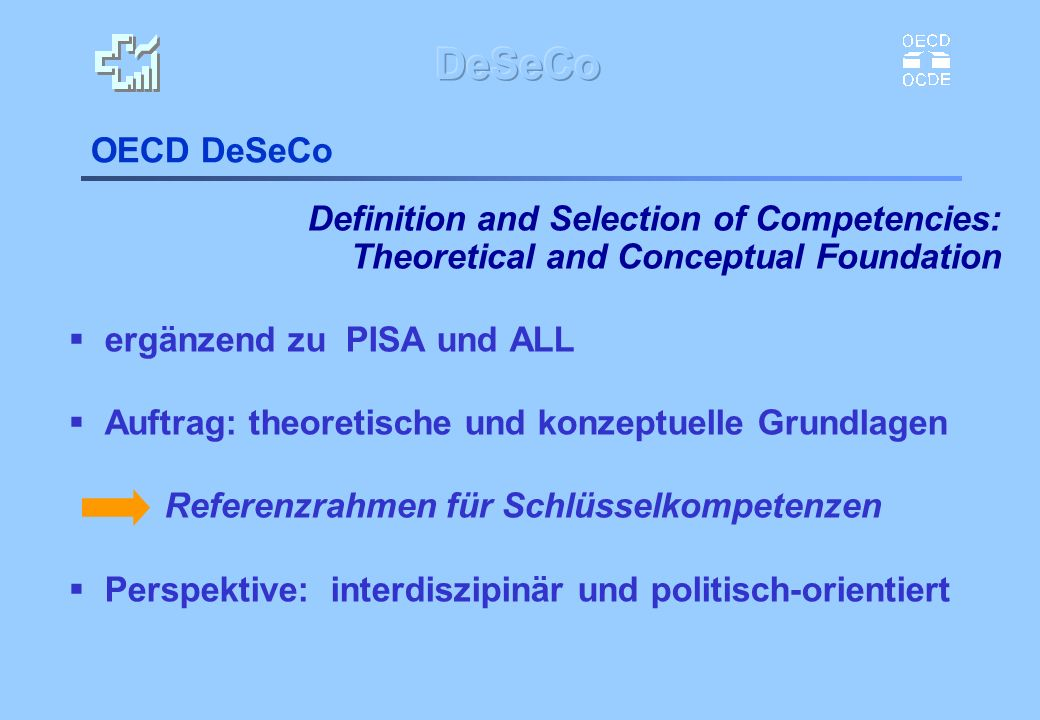 OECD DeSeCo Definition and Selection of Competencies: Theoretical and Conceptual Foundation. ergänzend zu PISA und ALL.