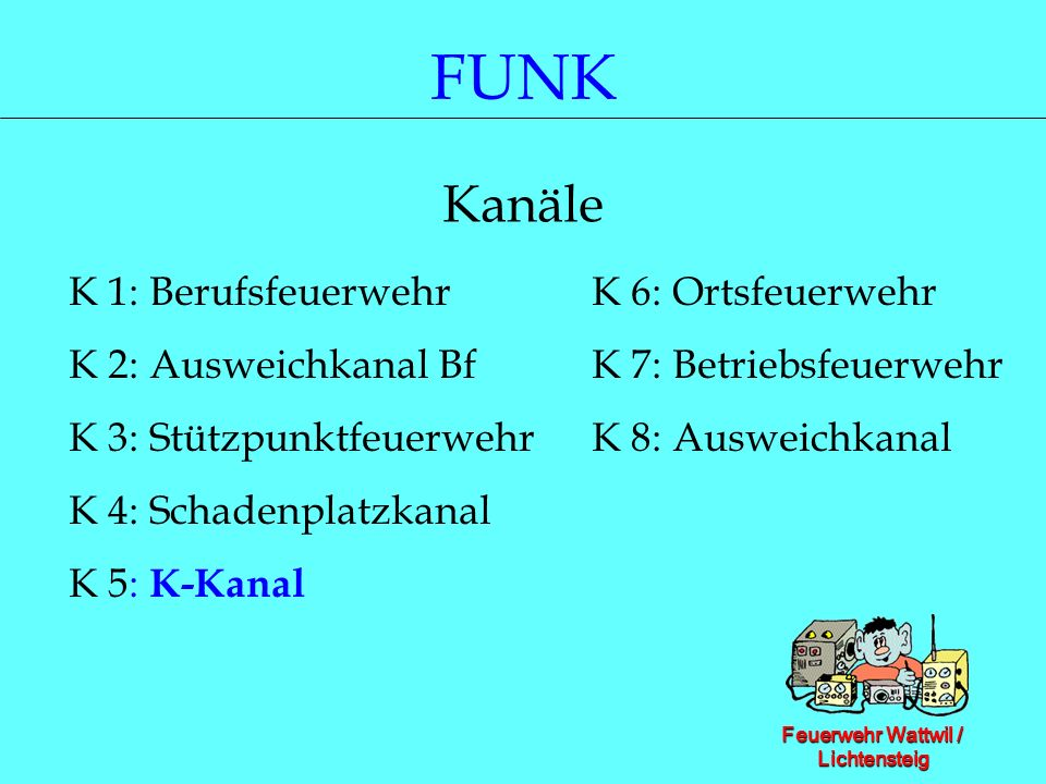 FUNK Kanäle K 1: Berufsfeuerwehr K 6: Ortsfeuerwehr