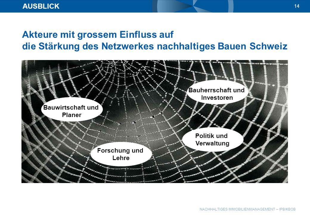 AUSBLICK 14. Akteure mit grossem Einfluss auf die Stärkung des Netzwerkes nachhaltiges Bauen Schweiz.