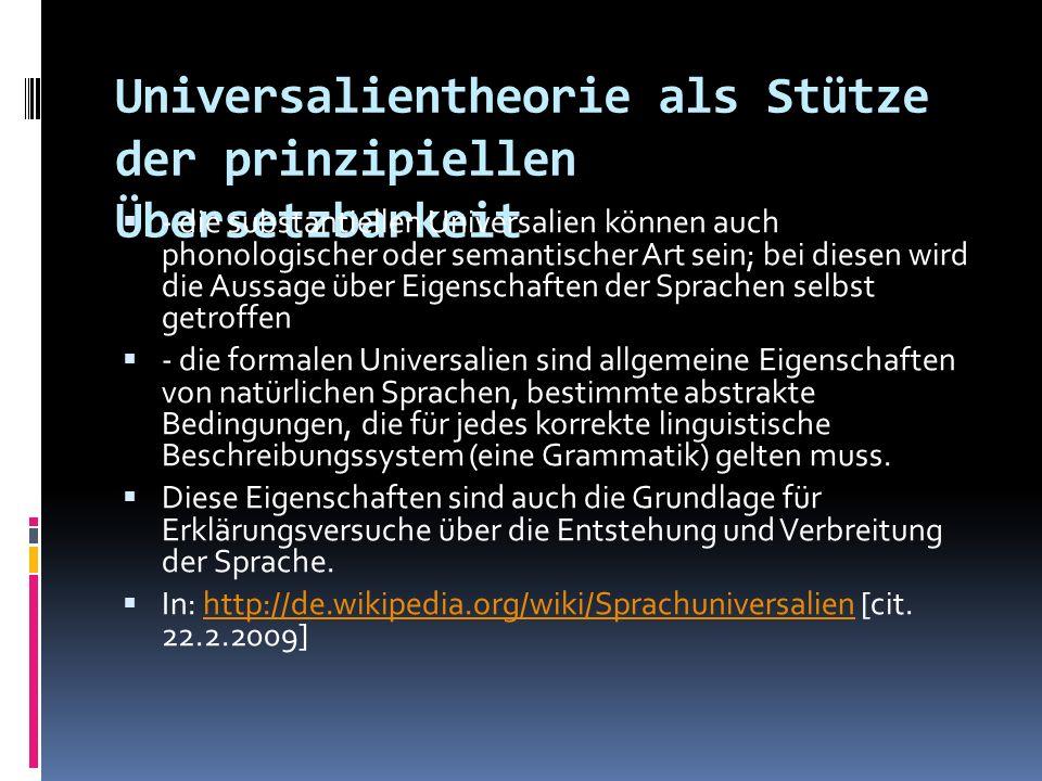 Universalientheorie als Stütze der prinzipiellen Übersetzbarkeit