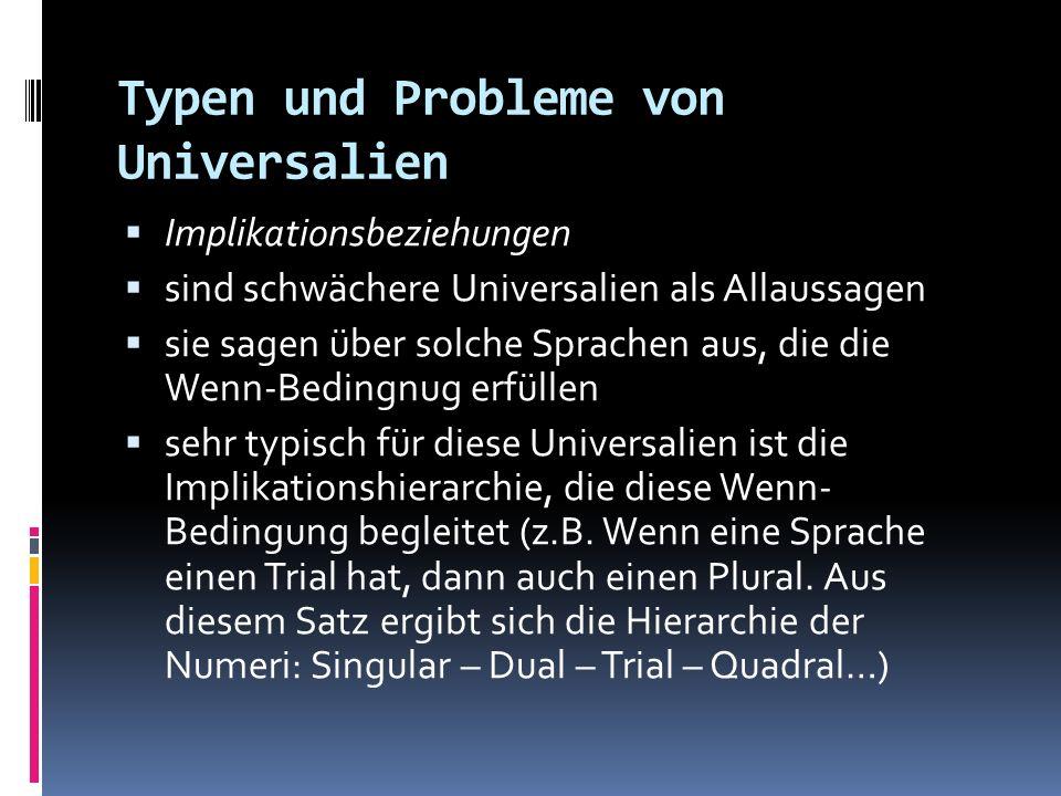 Typen und Probleme von Universalien