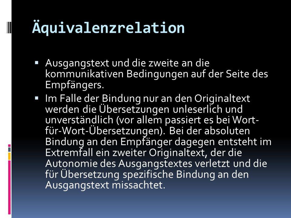 Äquivalenzrelation Ausgangstext und die zweite an die kommunikativen Bedingungen auf der Seite des Empfängers.