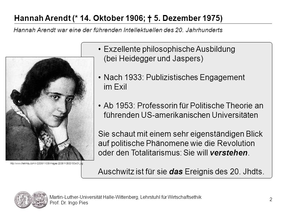 Hannah Arendt (* 14. Oktober 1906; † 5. Dezember 1975)