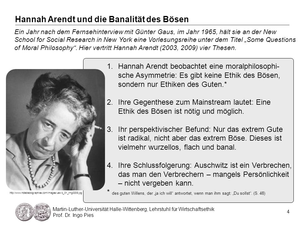 Hannah Arendt und die Banalität des Bösen