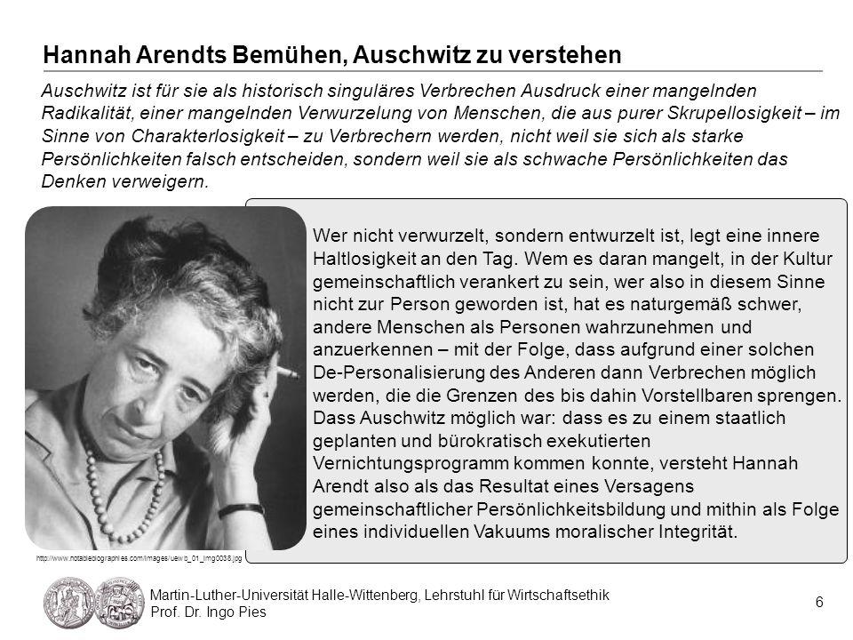 Hannah Arendts Bemühen, Auschwitz zu verstehen