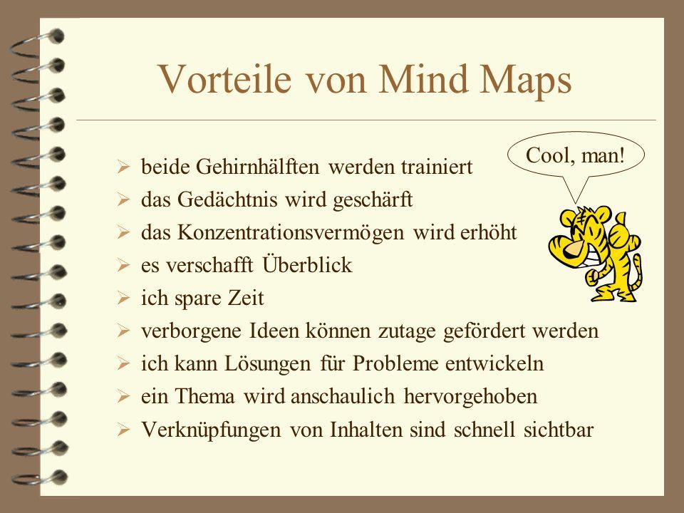 Vorteile von Mind Maps Cool, man! beide Gehirnhälften werden trainiert
