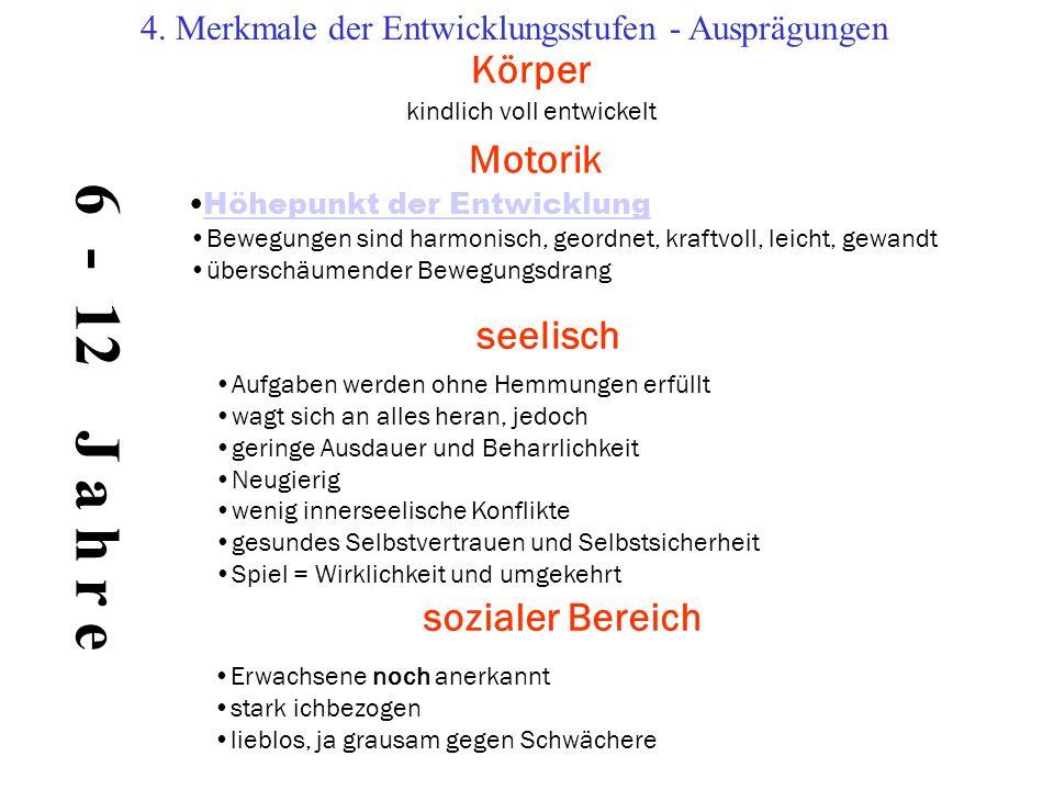 6 - 12 J a h r e Körper Motorik seelisch sozialer Bereich