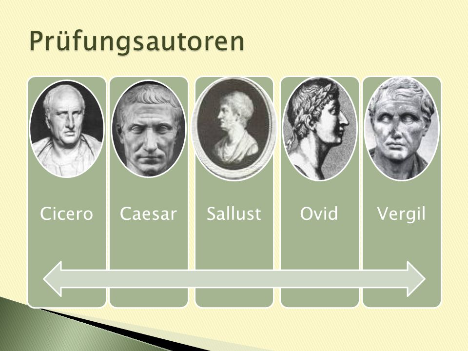 Prüfungsautoren Cicero Caesar Sallust Ovid Vergil