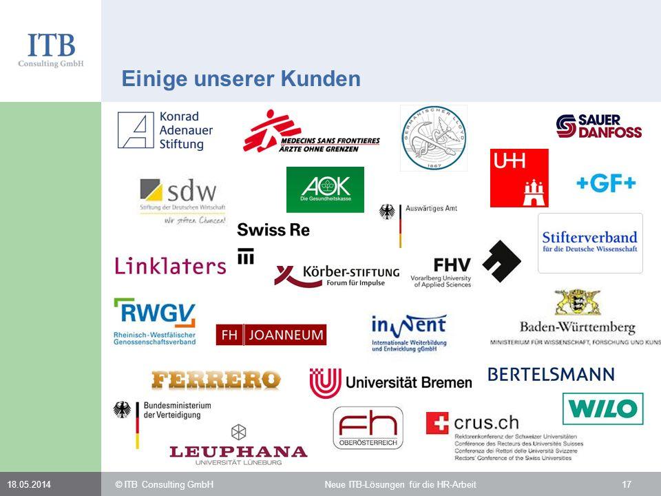 Einige unserer Kunden 31.03.2017. © ITB Consulting GmbH Neue ITB-Lösungen für die HR-Arbeit.