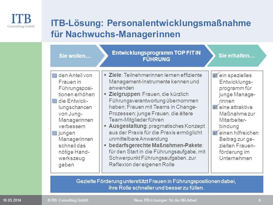 ITB-Lösung: Personalentwicklungsmaßnahme für Nachwuchs-Managerinnen