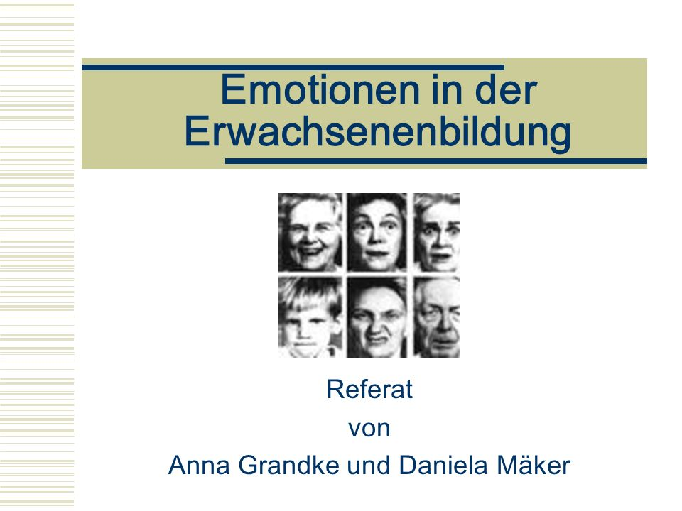 Emotionen in der Erwachsenenbildung