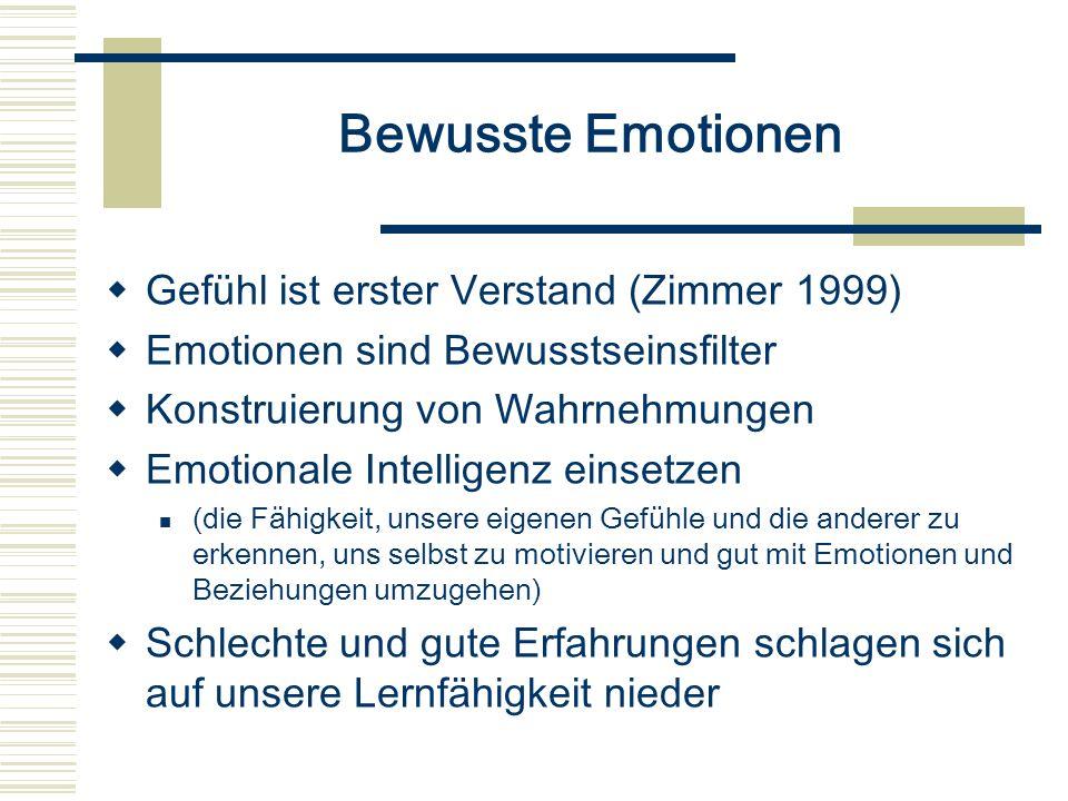 Bewusste Emotionen Gefühl ist erster Verstand (Zimmer 1999)