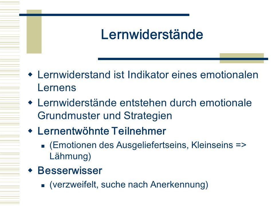 Lernwiderstände Lernwiderstand ist Indikator eines emotionalen Lernens