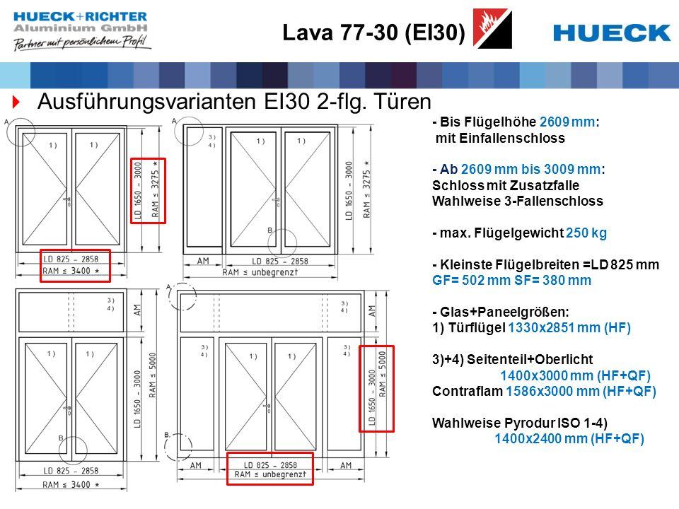 Ausführungsvarianten EI30 2-flg. Türen