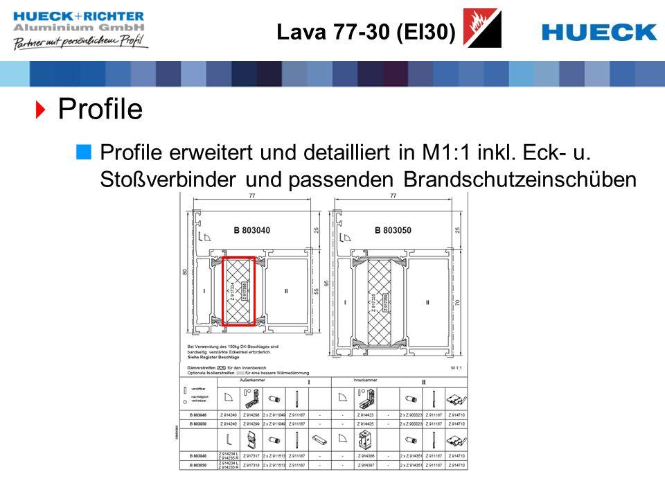Lava 77-30 (EI30) Profile. Profile erweitert und detailliert in M1:1 inkl.