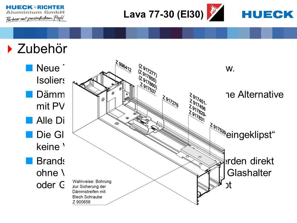 Lava 77-30 (EI30) Zubehör. Neue Tabelle mit Zuordnung der Dämm- bzw. Isolierstreifen zu allen Profilen.