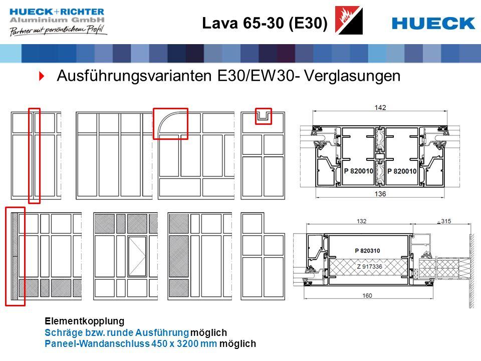 Ausführungsvarianten E30/EW30- Verglasungen