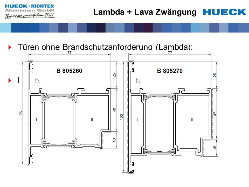 Lambda + Lava Zwängung Türen ohne Brandschutzanforderung (Lambda): Keine Zusatzfunktionen.