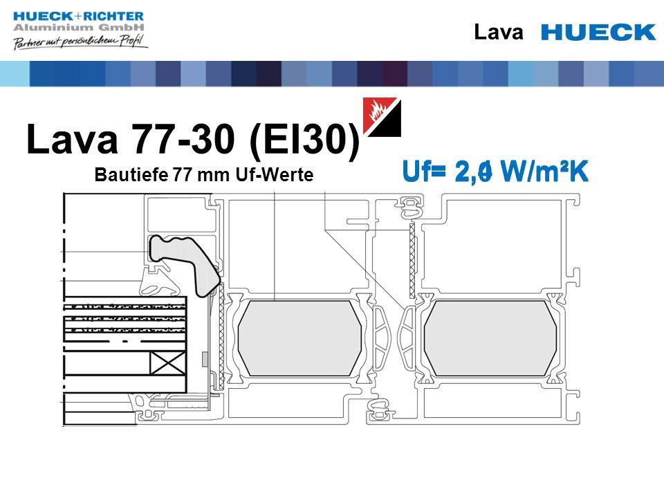Lava 77-30 (EI30) Uf= 2,4 W/m²K Uf= 2,0 W/m²K Lava