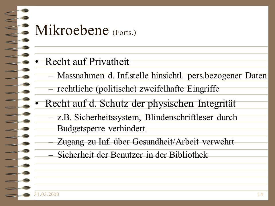Mikroebene (Forts.) Recht auf Privatheit
