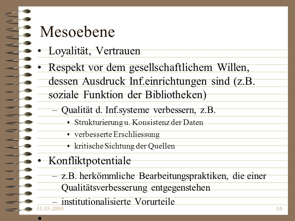 Mesoebene Loyalität, Vertrauen