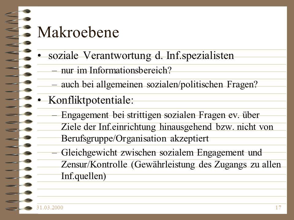 Makroebene soziale Verantwortung d. Inf.spezialisten