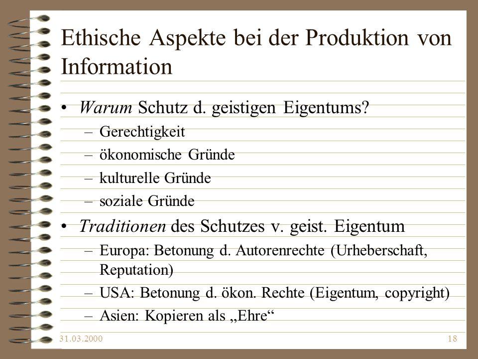 Ethische Aspekte bei der Produktion von Information