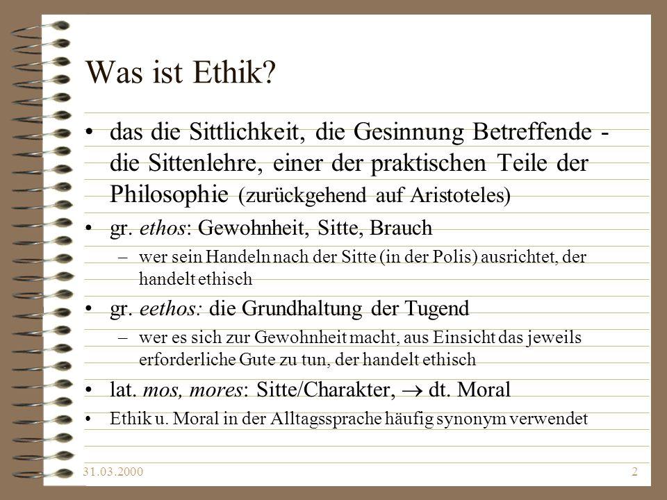 Was ist Ethik